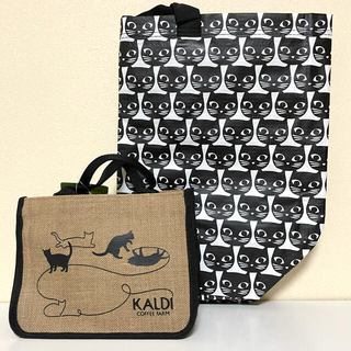 カルディ(KALDI)のカルディ✰ネコの日ジュートバッグ &イケア★クロネコプリントバッグ。猫の日(トートバッグ)