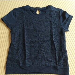 半袖トップス 花柄レース Lサイズ 紺