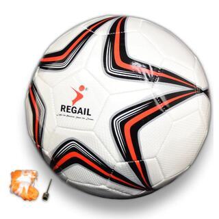 サッカーボール 中学生以上 5号球 赤 空気針・ボールネット付き 19針縫い(ボール)
