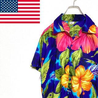●アメリカ古着● 半袖 トロピカル ハワイアン アロハシャツ ブルー メンズ