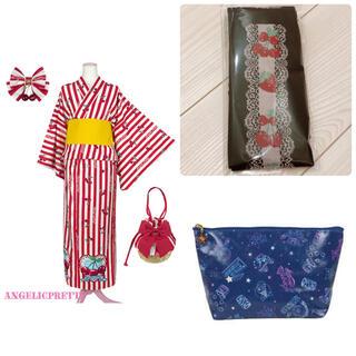 Angelic Pretty - Cherry Stamp浴衣Set アカ オーバーニー ポーチ
