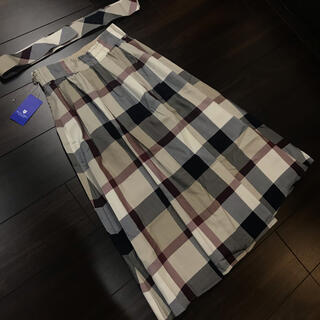 バーバリーブルーレーベル(BURBERRY BLUE LABEL)のブルーレーベルクレストブリッジ  リボンベルト付き スカート ベージュチェック(ひざ丈スカート)