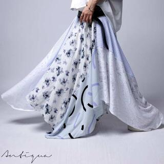 アンティカ(antiqua)の新品タグ無し☆彡【antiqua】変形 花柄 ストライプ 切り替え スカート(ロングスカート)