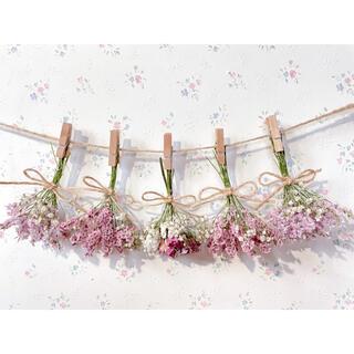 3種のバラのパステルピンクドライフラワーガーランド♡スワッグ♡ミニブーケ♡壁掛け
