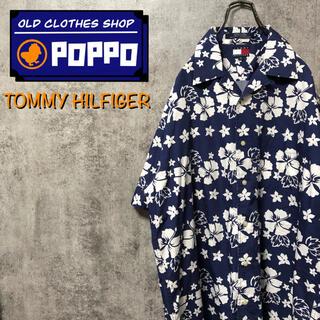 TOMMY HILFIGER - トミーヒルフィガー☆ハイビスカス柄花柄半袖オープンカラーアロハシャツ 90s