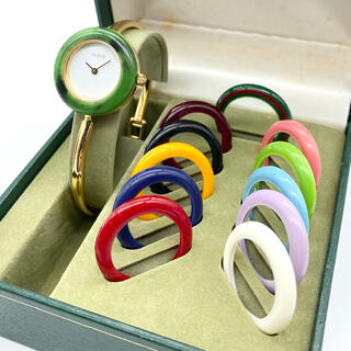 グッチ(Gucci)の良品☆GUCCI チェンジベゼル 新品電池 Mサイズ レディース腕時計(腕時計)