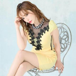 デイジーストア(dazzy store)のビジューネック/ブラックシースルー切替ドレス(ミニドレス)