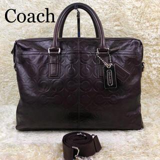 コーチ(COACH)の美品✨コーチ オプアート 2way レザー ビジネスバッグ 大容量 ブラウン(ビジネスバッグ)