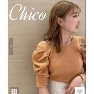 who's who Chico - 【春夏ニット】5分袖スクエアパワショルt chico チコ ホワイト