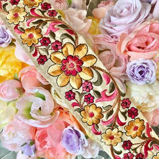 インド刺繍リボン アンティーク ヴィンテージリボン チロリアンテープ 花 ベルト(各種パーツ)