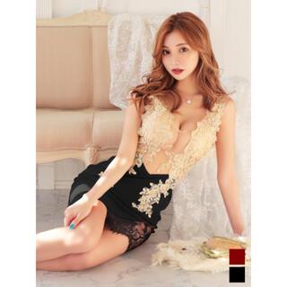 JEWELS - シースルー切替/フラワーゴールド刺繍ドレス