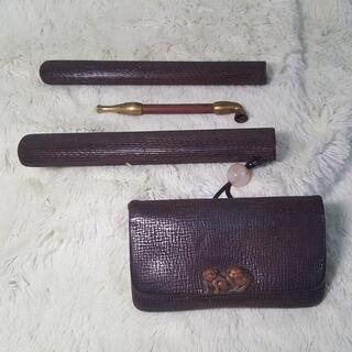 ◆大正レトロ◆豆煙管 革製煙草入れ 金具子犬2匹 アンティーク ヴィンテージ
