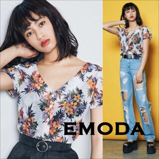 EMODA - EMODA ストライプシアー 花柄 2WAY トップス*GYDA EVRIS
