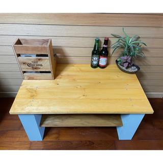 お洒落ローテーブル   収納スペース センターテーブル 本棚付き カフェ風(ローテーブル)