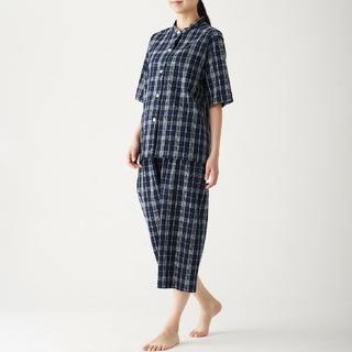 MUJI (無印良品) - 脇に縫い目のない サッカー織り半袖パジャマ 七分丈パンツ