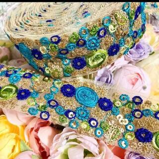 インド刺繍リボン 青 金 花刺繍レース フランスアンティーク チロリアンテープ(各種パーツ)