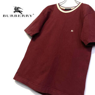 BURBERRY - 美品 Burberry 刺繍ロゴTシャツ メンズM ボルドー