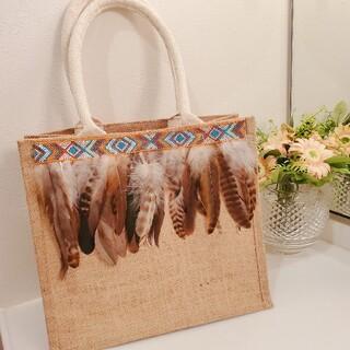 ムジルシリョウヒン(MUJI (無印良品))の羽根フリンジ アレンジジュートバッグ(バッグ)