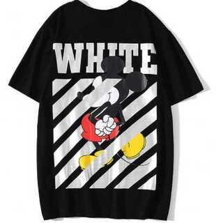 新ミッキー メンズ 黒 ブラック ティーシャツ オーバーサイズ オフホワイト(Tシャツ/カットソー(半袖/袖なし))