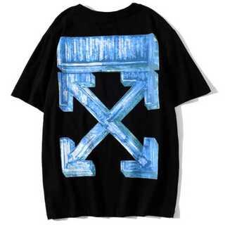黒青 メンズ レディース Tシャツ オーバーサイズ ペアルック オフホワイト(Tシャツ/カットソー(半袖/袖なし))