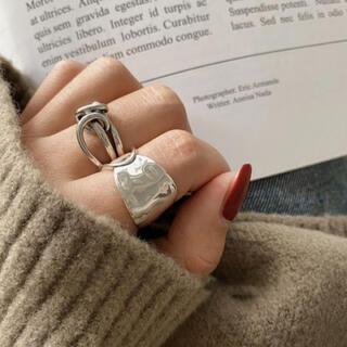 2個セット 指輪 シルバー銀 オルチャン 韓国 レトロ ペアリングにも♪