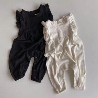 ザラキッズ(ZARA KIDS)の* 韓国子供服 * リネン オールインワン サロペット 黒 70 80 90(ロンパース)