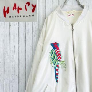 WARPY ジップアップジャケット 豪華刺繍 ブルゾン ビスコース 白 38