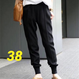DEUXIEME CLASSE - ドゥーズィエムクラス リブパンツ 38 ブラック 黒