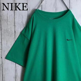 NIKE - 【美品】【海外モデル】ナイキ 刺繍ロゴ スモールロゴ Tシャツ 緑 黒