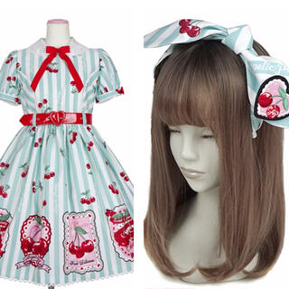 Angelic Pretty - Angelic Pretty Cherry Stamp ワンピースセット