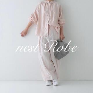 nest Robe - 限定* nest Robe * 2020 サクラ染めリネンスタンドフリルブラウス