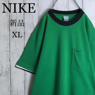 NIKE - 【新品】ナイキ 刺繍ロゴ スモールロゴ リンガーTシャツ XL 緑 黒