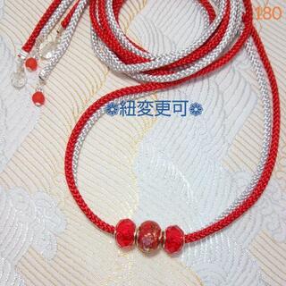 (180)浴衣飾り紐☆帯留め帯締め帯紐☆帯飾り紐(M2M7シルバー+赤)