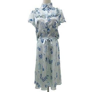 ハロッズ(Harrods)のHarrods ブラウス スカート セットアップ シルク 花柄 フリル 2 水色(シャツ/ブラウス(半袖/袖なし))