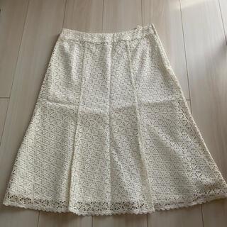 アンクライン(ANNE KLEIN)の美品!ANNE KLINE アンクライン スカート ホワイト(ひざ丈スカート)