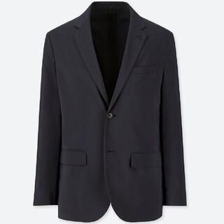 UNIQLO - 感動ジャケット ウールライク 袖丈着丈短め  ユニクロ ネイビー UNIQLO
