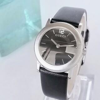 Gucci - ⭐綺麗 グッチ 101L 黒 ガラス 新品レザー レディース腕時計 着物 極美品