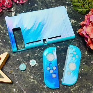 ニンテンドースイッチ(Nintendo Switch)の水彩 タイダイ Switch ソフト 保護 カバー ブルー RN09(その他)