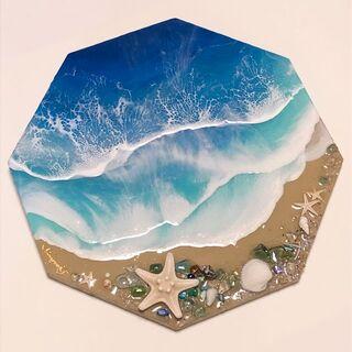 絵画 ハンドメイド レジン 八角形 オリジナル 一点物 シーグラス 波 海(アート/写真)