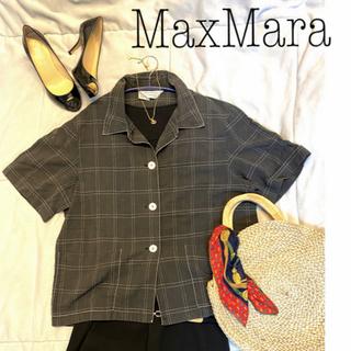 マックスマーラ(Max Mara)のMax Mara マックスマーラ 半袖 シャツ リネン チャコールグレー(シャツ/ブラウス(半袖/袖なし))