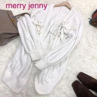 merry jenny - merry jenny メリージェニー リボンケーブルガウン ホワイト