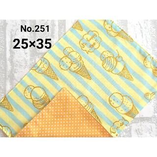 251 ランチョンマット アイス クリーム色×水色 ナフキン ハンドメイド(外出用品)