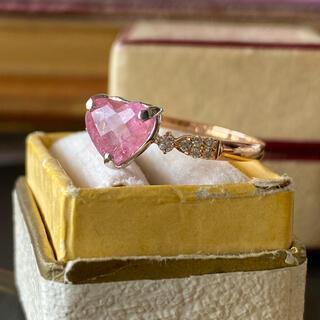 天然ペツォッタイト 天然ダイヤモンド ハートシェイプ ソーティング付き