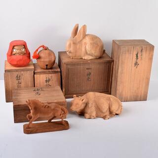 住吉大社彫刻匠 長江録弥作 木彫 神兎 神馬など 共箱 5点 D R3667B(彫刻/オブジェ)