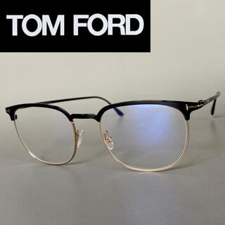 トムフォード(TOM FORD)のトムフォード ブラック メガネ ハーフ メタル ブルーライト カット セミリム(サングラス/メガネ)