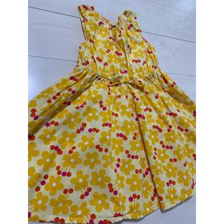 mou jon jon - ムージョンジョン レトロ可愛い花柄ワンピース 綿100% 黄色 120 美品