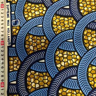 113 ブルー サークル アフリカ布 50cm x 110cm バオバブ神戸(生地/糸)