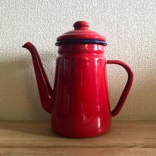 ニトリ - 【使用1回】ニトリ ホーロー コーヒーポット ガス火 赤 レッド