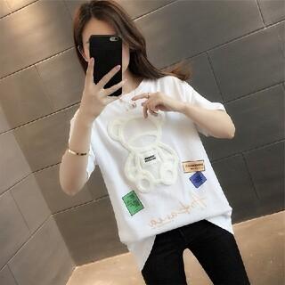 韓国ファッション 刺繍 半袖ティシャツ