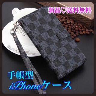 ★12/12pro★ 手帳型 iPhoneケース チェック柄 ブラック 黒